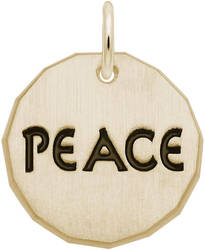 Black Enamel Peace Charm Tag Charm (Choose Metal) by Rembrandt