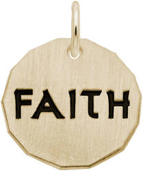 Black Enamel Faith Charm Tag Charm (Choose Metal) by Rembrandt