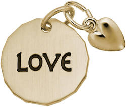 Love Tag w/ Heart Charm (Choose Metal) by Rembrandt