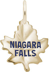 Medium Plain Niagara Falls Maple Leaf Charm (Choose Metal) by Rembrandt