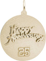 Happy Anniversary 25 Charm (Choose Metal) by Rembrandt