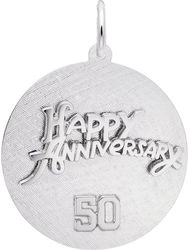 Happy Anniversary 50 Charm (Choose Metal) by Rembrandt