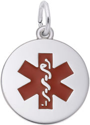 Medical Symbol w/ Red Paint Charm (Choose Metal) by Rembrandt