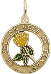 Texas Yellow Rose w/ Yellow & Green Color Charm (Choose Metal) by Rembrandt