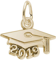 Graduation Cap w/ Year 2019 Charm (Choose Metal) by Rembrandt