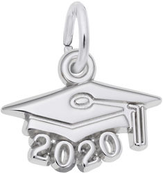 Graduation Cap w/ Year 2020 Charm (Choose Metal) by Rembrandt