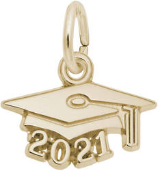 Graduation Cap w/ Year 2021 Charm (Choose Metal) by Rembrandt