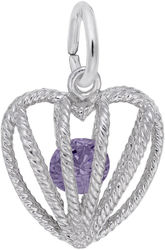 February Heart Cage w/ Synthetic Crystal Charm (Choose Metal) by Rembrandt
