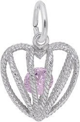 October Heart Cage w/ Synthetic Crystal Charm (Choose Metal) by Rembrandt