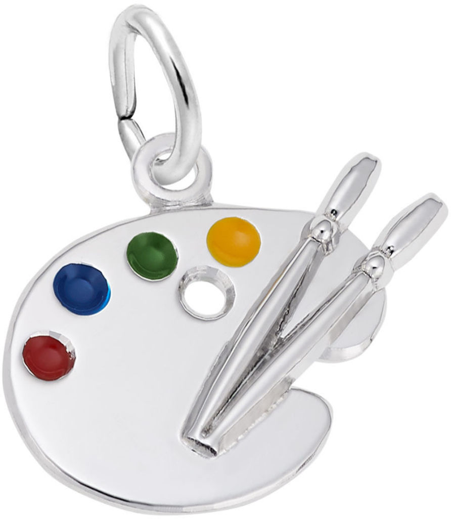 Small Artist Palette Charm w/ Multicolor Enamel (Choose Metal) by Rembrandt