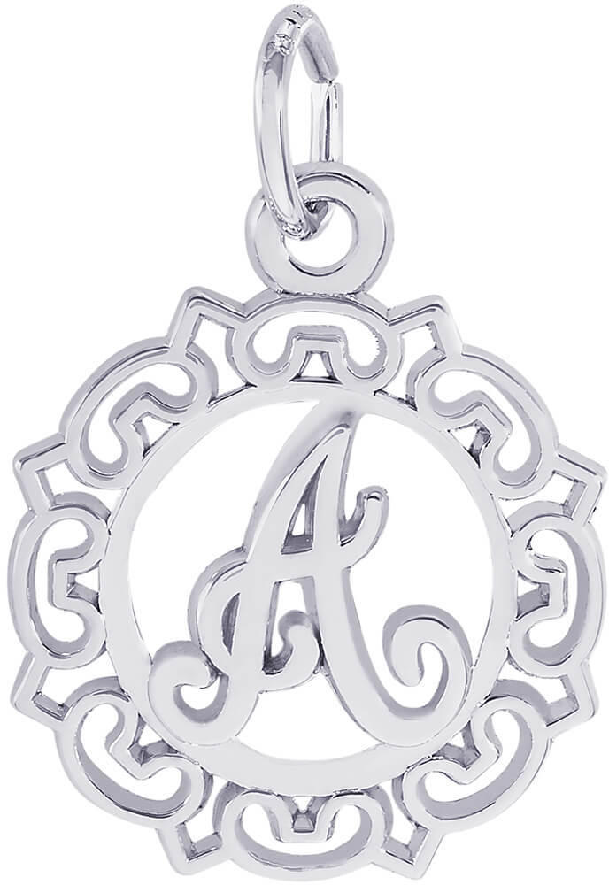 Ornate Script Initial Charm (Choose Letter & Metal) by Rembrandt