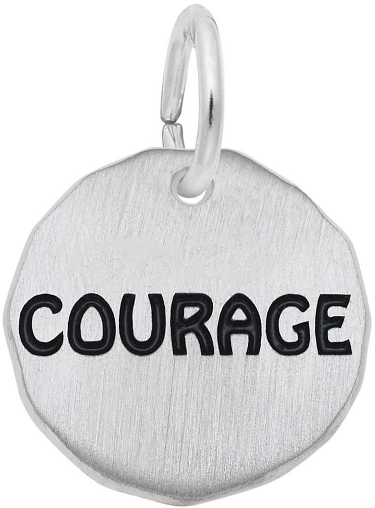 Black Enamel Courage Charm Tag Charm (Choose Metal) by Rembrandt