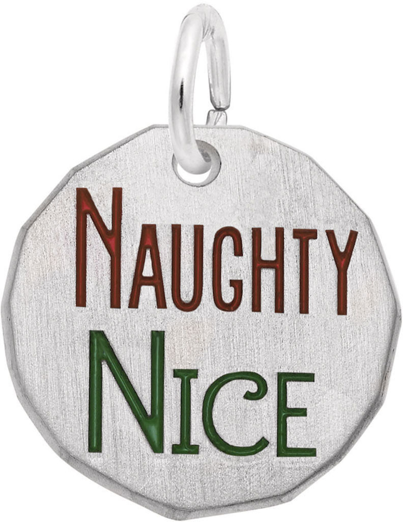 Red & Green Enamel Naughty / Nice Charm (Choose Metal) by Rembrandt