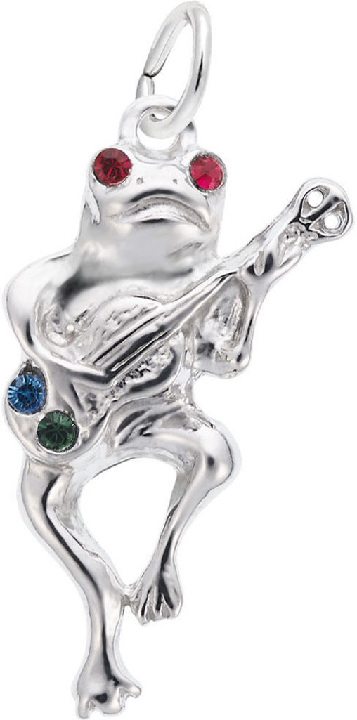 Guitar Playing Frog Charm w/ Red, Green & Blue Synthetic Crystals (Choose Metal) by Rembrandt