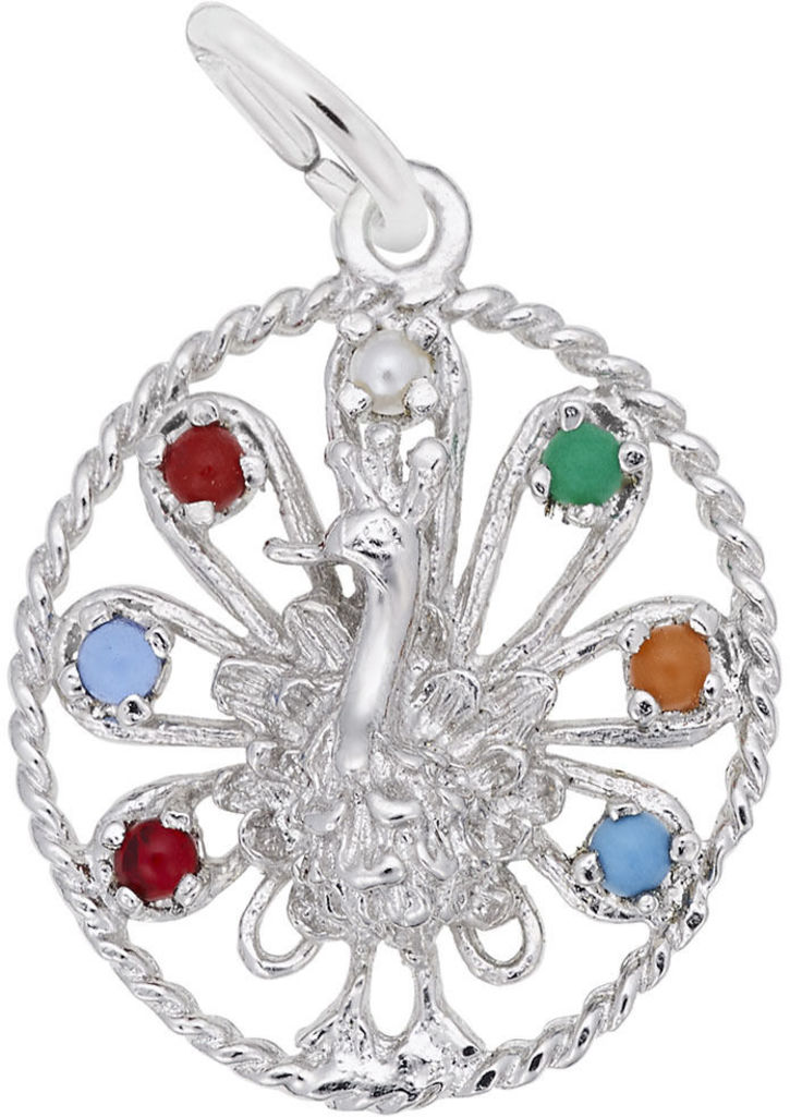 Beaded Peacock Charm w/ Multicolor Beads (Choose Metal) by Rembrandt