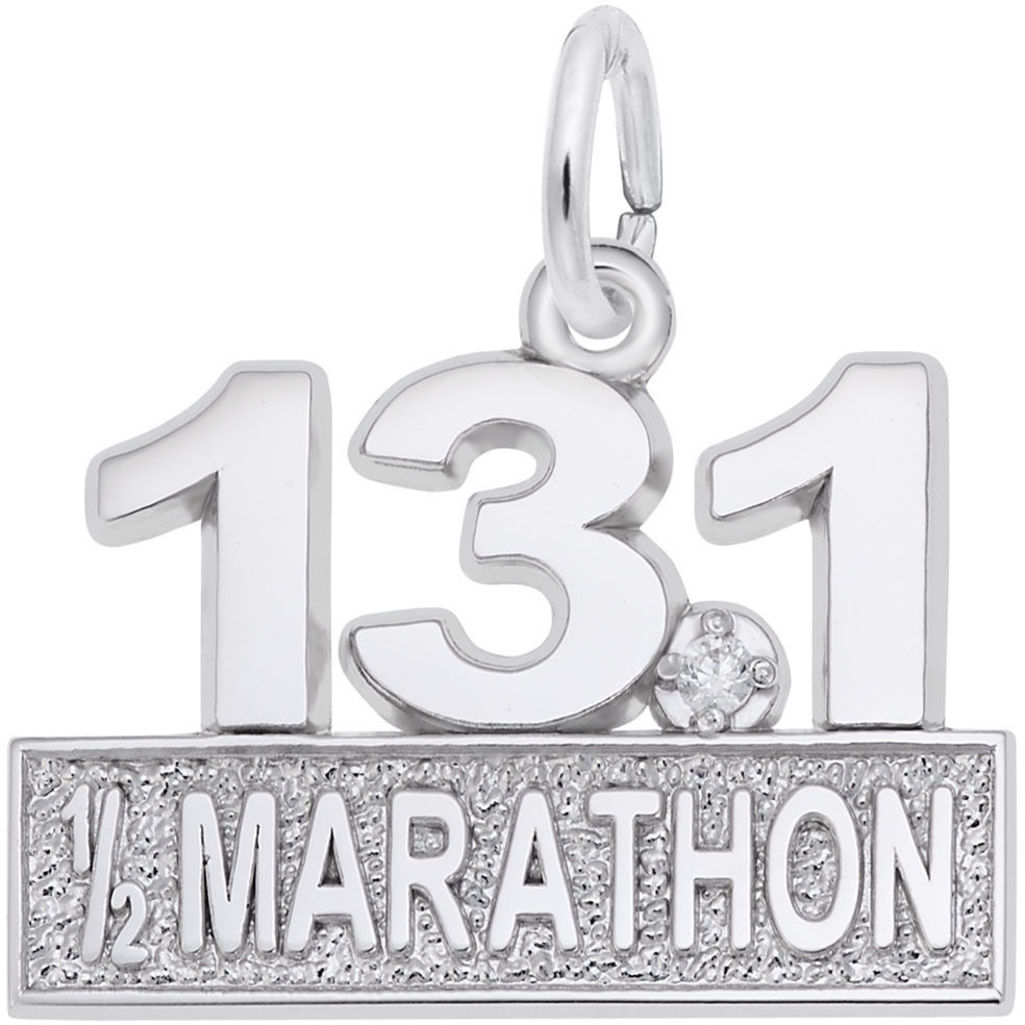 Marathon 13.1 w/ White Spinel Charm (Choose Metal) by Rembrandt