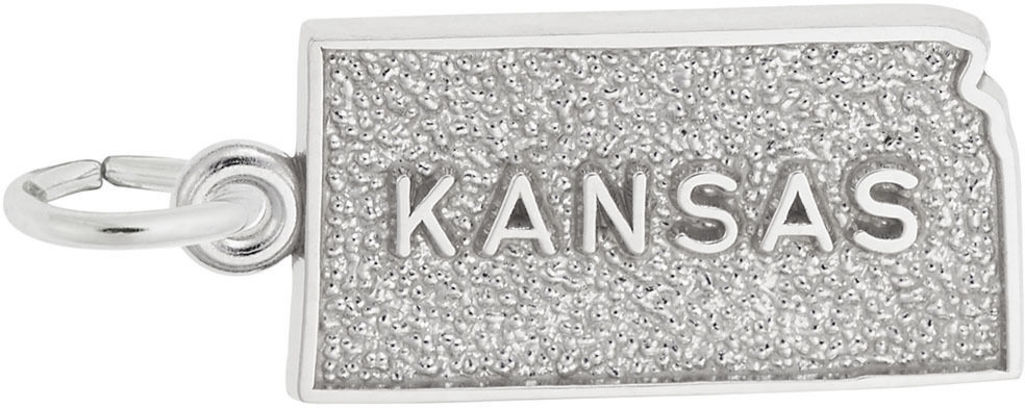 Kansas Map Charm (Choose Metal) by Rembrandt