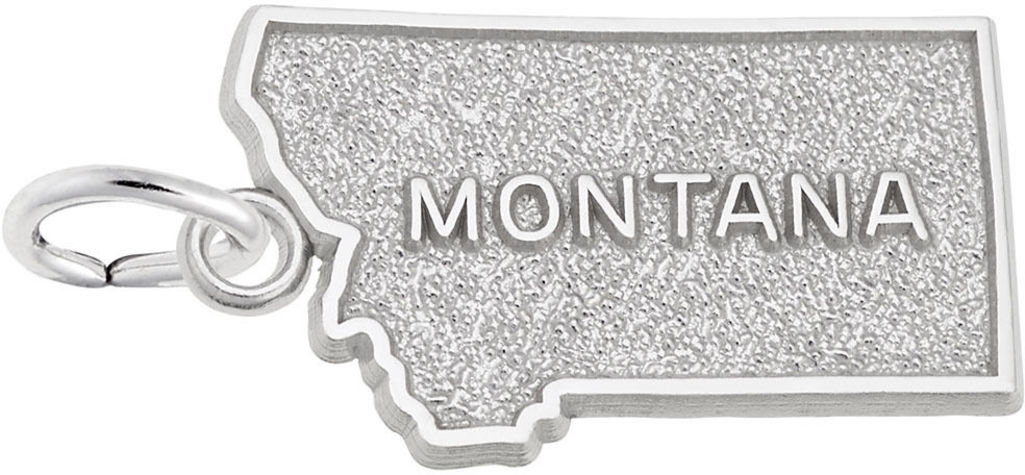 Montana Map Charm (Choose Metal) by Rembrandt