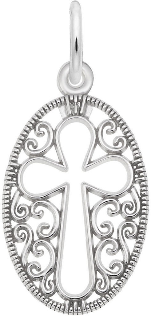 Filigree Oval Cross Charm (Choose Metal) by Rembrandt