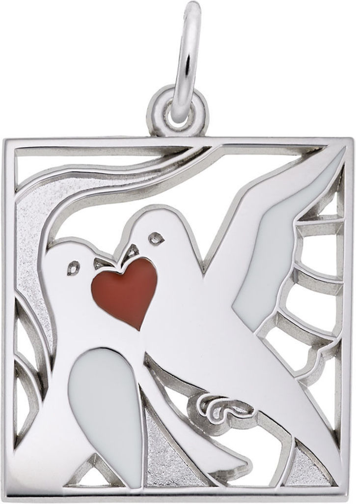 Two Turtle Doves Charm w/ White & Red Enamel (Choose Metal) by Rembrandt
