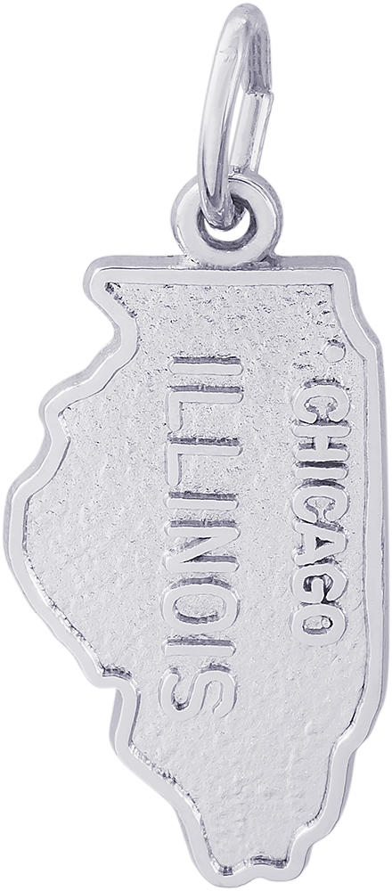 Chicago Illinois Map Charm (Choose Metal) by Rembrandt