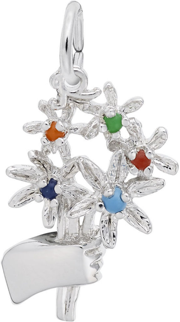 Bouquet Of Flowers Charm w/ Multicolored Beads (Choose Metal) by Rembrandt
