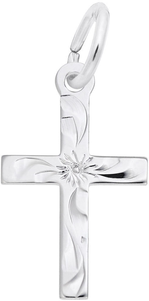 Small Flare Design Cross Charm (Choose Metal) by Rembrandt