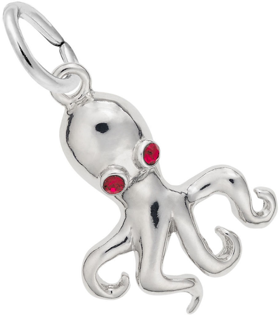 Octopus Charm w/ Red Synthetic Crystals (Choose Metal) by Rembrandt