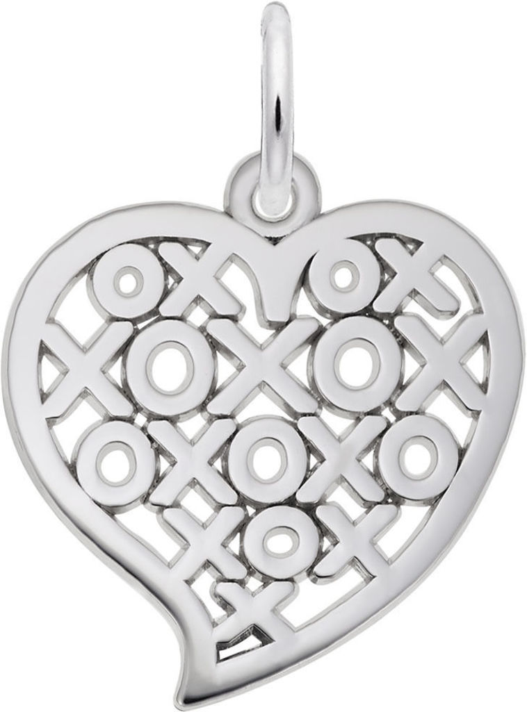 Hugs & Kisses Cutout Heart Charm (Choose Metal) by Rembrandt