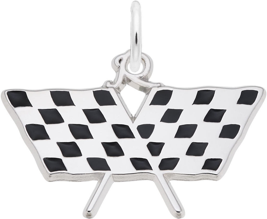 Checkered Racing Flags Charm w/ Black Enamel (Choose Metal) by Rembrandt