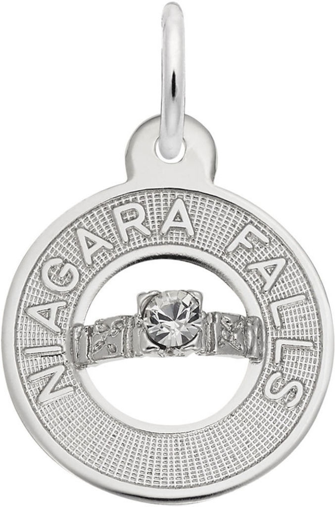 Niagara Falls Wedding Ring Charm w/ White Synthetic Crystal (Choose Metal) by Rembrandt