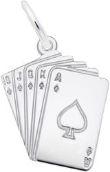 Royal Flush Cards Charm (Choose Metal) by Rembrandt