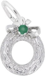 Wreath Charm w/ Green Bead (Choose Metal) by Rembrandt