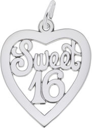 Sweet 16 Open Heart Charm (Choose Metal) by Rembrandt