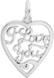I Love You Open Heart Charm (Choose Metal) by Rembrandt