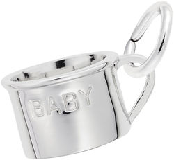 Inscribed Baby Cup Charm (Choose Metal) by Rembrandt