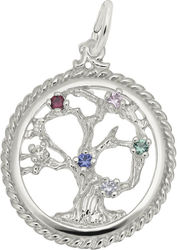 Tree Of Life Charm w/ Multicolor Synthetic Crystals (Choose Metal) by Rembrandt