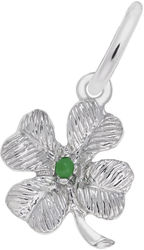 Four Leaf Clover w/ Green Bead Accent Charm (Choose Metal) by Rembrandt