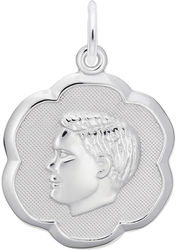 Elegant Boys Head Charm (Choose Metal) by Rembrandt