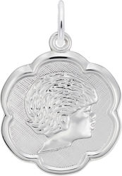 Elegant Girls Head Charm (Choose Metal) by Rembrandt