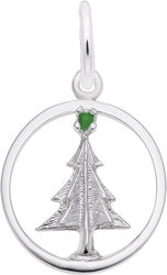 Christmas Tree Circle Charm w/ Green Bead (Choose Metal) by Rembrandt