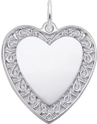 Scrolled Classic Heart Charm (Choose Metal) by Rembrandt