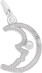 Half Moon w/ Simulated Pearl Charm (Choose Metal) by Rembrandt