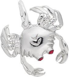 Crab w/ Red Stone Eyes Charm (Choose Metal) by Rembrandt