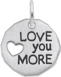 Black Enamel Love You More Charm (Choose Metal) by Rembrandt