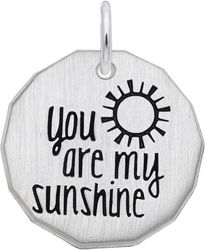 Black Enamel You Are My Sunshine Charm (Choose Metal) by Rembrandt