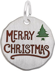 Red & Green Enamel Merry Christmas Charm (Choose Metal) by Rembrandt