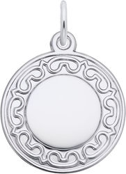 Ornate Round Charm (Choose Metal) by Rembrandt
