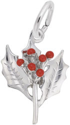 Christmas Holly Charm w/ Red Enamel (Choose Metal) by Rembrandt