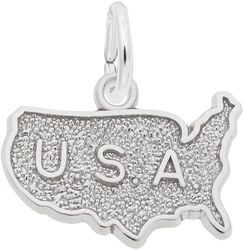 USA Map Charm (Choose Metal) by Rembrandt
